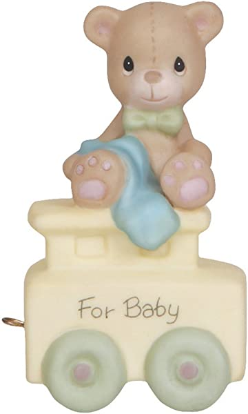 Precious Moments May Your Birthday Be Warm Birthday Train Baby Bisque Porcelain Figurine 142020