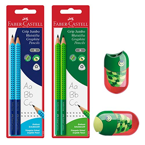 Faber-Castell Jumbo Graphite Pencil Back to School Set - 4 Jumbo Pencils (Blue/Green) & Fish Pencil Sharpener