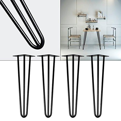 Tischbeine Hairpin Legs Tischgestell 4er Set Tischkufen Haarnadelbeine schwarz 40cm