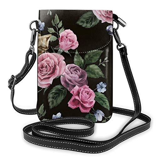 Bolso ligero del teléfono celular de la PU del cuero de la PU, negro Blackgound Rose pequeño Crossbody bolsos bolso de hombro cartera Pounch bolso para las mujeres