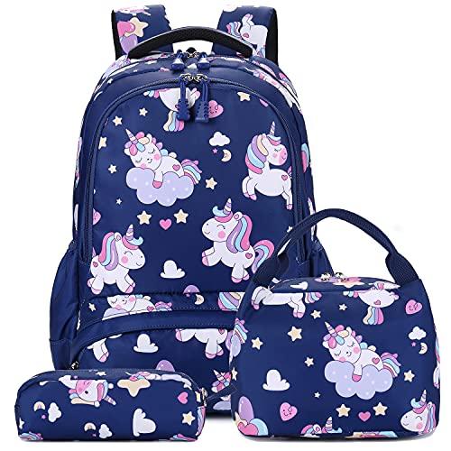 Mochila Niñas Unicornio Mochila Escolar para Adolescente Escuela Primaria Mochilas Infantil Bolsas Escolares Chicas para La Escuela,Viajes (Azul Marino)