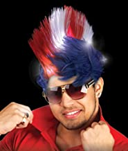 Fun Central LED Light Up Patriotic Mohawk Wig Headband for Women & Men - 4th of July Party Supplies
