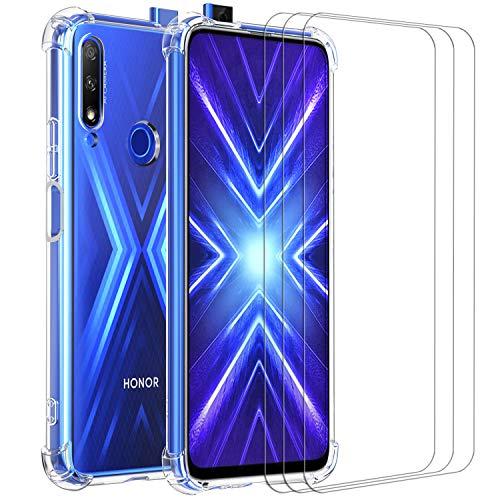 ivoler Funda para Huawei P Smart Z/Honor 9X con 3 Unidades Cristal Templado, Carcasa Protectora Anti-Choque Transparente, Suave TPU Silicona Caso Delgada Anti-arañazos Case