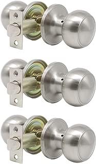 Probrico Satin Nickel Passage Door Knobs Handles for Hall and Closet Lockset Leverset 3 Pack