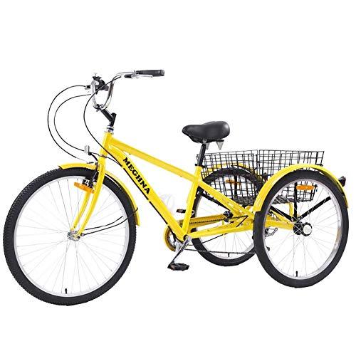WYFC 24inch 3 Ruote della Bicicletta per Adulti per Adulti Triciclo Bike Outdoor Sports City Urban Cestino della Bicicletta Inclusa