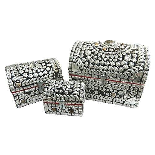 3 Cofanetti portagioie stile forziere dei pirati in legno con pietre d'Agata artigianato indiano accessori decorazione casa
