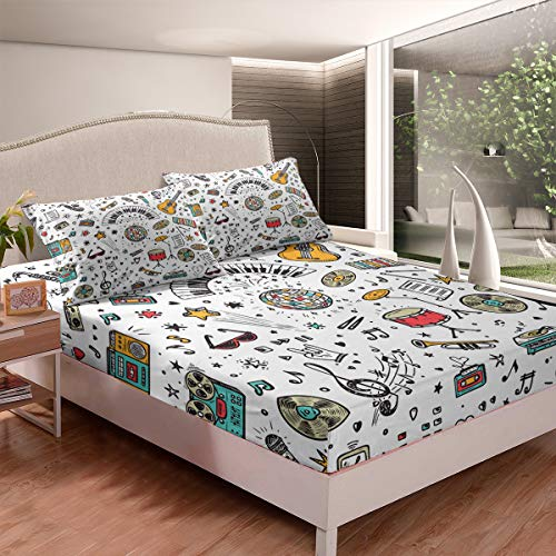 Hippie White Violin Bedding Bed Sheet Sets Twin Bedspread Softest Bedding Fitted Sheet Music Love Best Gift Drum Kit Bedding Set Microfiber Deep Pocket Bed Sheet Set Minimalist Style 2pcs Quilt Cover