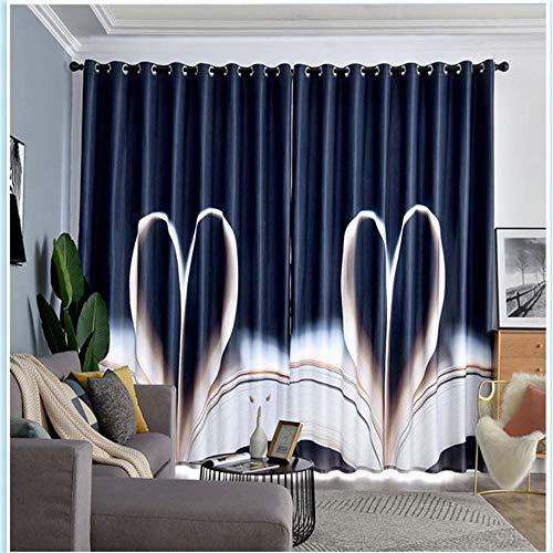 CURTAINSCSR 3D gedruckte Vorhang Blaues Herzförmiges Muster Thermovorhang Verdunkelungsgardine Lichtundurchlässige Vorhang mit Ösen für Schlafzimmer Wohnzimmer Geräuschreduzierung 2Panel75x166cm