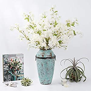 LESING 4pcs Cherry Blossom Flowers Artificial, Fake Silk Cherry Blossom Branches Tall Peach Blossom Flower Stems Arrangement for Wedding Home Office Party Decoration (White)