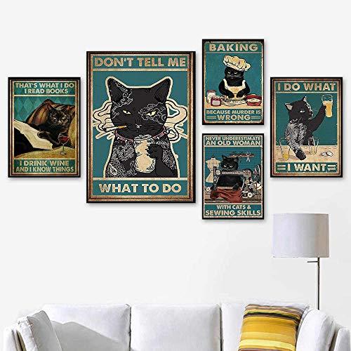 Dibujos Animados Gracioso Negro Gatos Poster Bebidas Vino Impresiones Vintage De La Lona Pintura Gato Cocina Pared Arte Cuadros Inicio Decoracion para Salon HabitacióN Recamara No Marco