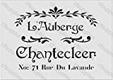 A3 Grand pochoir Shabby Chic, Français, mobilier, tissu, verre, plus de *Nouveau 190 microns Mylar réutilisable x 144
