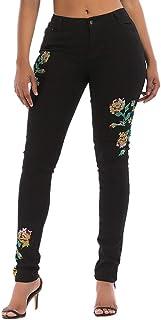 Pantalones Vaqueros Mujer Slim fit Talla Grande, Gusspower Flaco Bordado Pantalones lápiz Largos Cintura Alta elásticos Stretch Jeans Pantalones Mezclilla Mujer de Vestir
