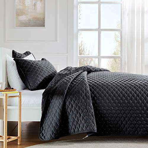 SLEEP ZONE Premium Quilt Set 120gsm Fabric Stich Bedding Set Twin Size 90x96 inch with 2 Pillow Shams Ultra Soft Lightweight Microfiber Bedspread Coverlet for All Season, Black, Full/Queen