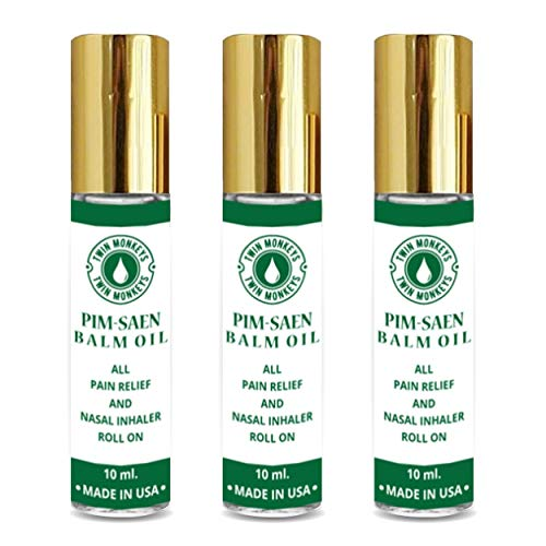 TWIN MONKEYS | Pure PIM-SAEN Aromatherapy Menthol Nasal Inhaler Balm Oil- Headache,Motion Sickness,Dizziness,Stuffy Nose-All Night Cool and Fresh Breathing-Pure Essential Oil ROLL ON(Pack of 3)