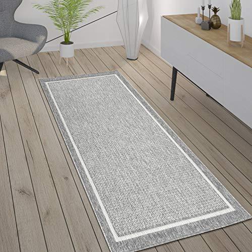 Paco Home Alfombra Interior Exterior Terraza Balcón Intemperie Estilo Escandinavo, tamaño:80x150 cm, Color:Gris 2