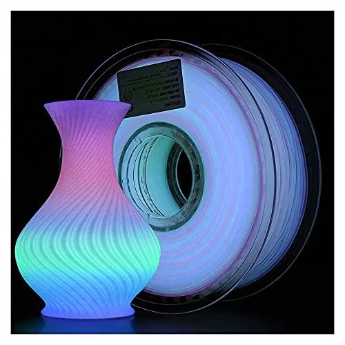 Leuchtende Regenbogen-PLA-Filament, PLA-leuchtendes Multicolor-Filament, Glühen im dunklen Regenbogenfilament, 1,75 mm, 1kg Spule