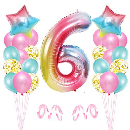 6er Cumpleaños Globos, Decoración de Cumpleaños 6 en Rosado, Cumpleaños 6 Año, Feliz Cumpleaños Decoración Globos 6 Años, Globos de Confeti y Aluminio para Niñas