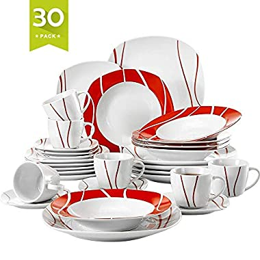Malacasa 30 Pieces Dinnerware Set Square Dishes White; Includes 6 Dinner Plates 6 Soup Plates 6 Dessert Plates, 6 Mugs and 6 Saucers, Service for 6 Series Felisa