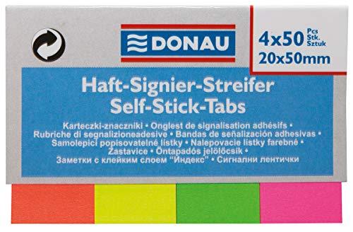 DONAU 7576001PL-99 plakstrips/markeerstiften, papier, 20 x 50 mm, 4x50 stuks, verschillende kleuren