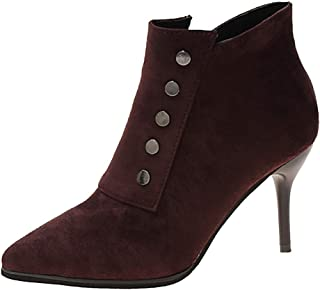 QueenMM Womens Fashion High Stiletto Heel Boots Comfort Suede Pointed Toe Side Zipper Ankle Booties with Studded Dress Shoes