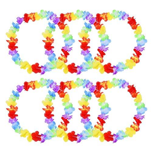 nuoshen 10 pcs Hawaiian Garlands, Hawaiian Ruffled Flower Tropical Hawaian Necklace Leis for Dress, Party Necklace and Beach