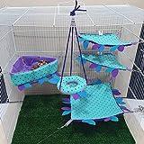 HOT! Sky Blue 5 Piece Cute Sugar Glider Hamster Squirrel Chinchillas Small Pet Cage Triangle Bed Set Dot Pattern Get Free 1 Small Pet Treats, Polar Bear's Republic