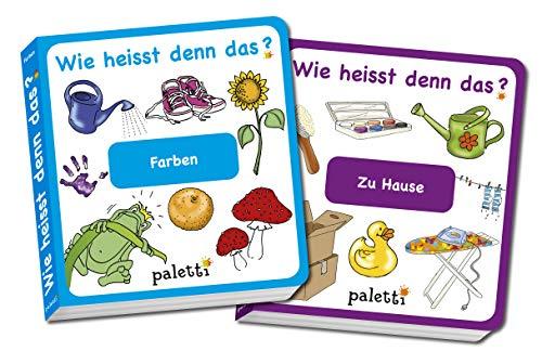 Wie heisst denn das? Kinderbücher 2er Set Pappbuch Farben und Zu Hause