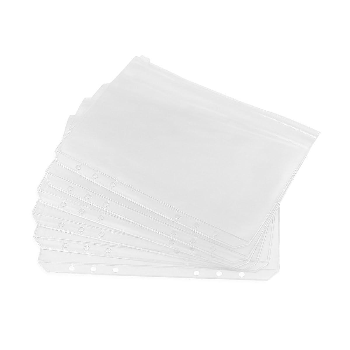 Zhi Jin 6 Holes A5 Clear Refills Binder Pocket Business Card Organiser Holder Storage Bag Zipper Case Bill Pouch 6Pcs of Set, A5-Zipper Bag