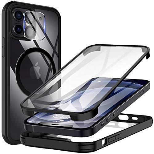 KKM Custodia con Integrate Pellicola Protettiva in Vetro Temperato e Pellicola Fotocamera per iPhone 12 6.1 Pollici, Compatibile con Caricatore Magnetico, Doppia Protezione Cover-Nero