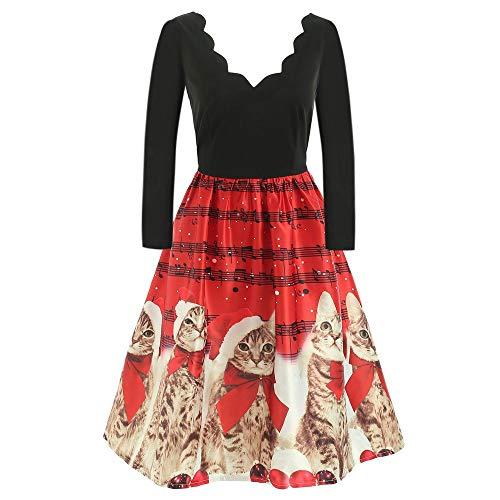 BOLANQ Weihnachtenkleid Damen Elegant Abendkleid Vintage Weihnachten Party Kleid Mesh Brautkleid Retro Cocktailkleid Rockabilly Minikleid Kleidung(XXX-Large,Rot)