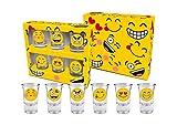 Juego de 6 vasos de chupito emoji para fiesta de cumpleaños, sonrisa y rubor, 35 ml, EM001