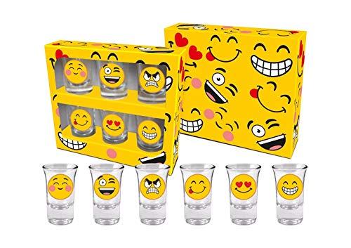 Juego de 6 vasos de chupito Emoji para regalo de cumpleaños para fiesta, sonreír y guiño 35 ml EM001