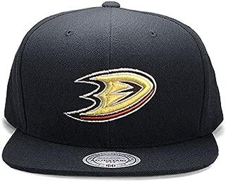 Mitchell & Ness Anaheim Ducks Solid Wool Black & Gold Logo Vintage Classic Adjustable Snapback Hat NHL