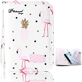 P.travel Women Passport Holder Travel Wallet Organiser with Zip Closure Waterproof Phone Pocket Large Capacity Space for Tickets Debit Credit Cards Money Coins Documents +Passport Cover-Flamingo Pink