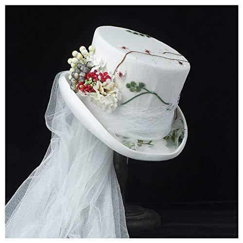 SSHZJUS 4 Tamaño Flor Blanca Boda Steampunk Boda Sombrero de Copa Marfil Rockabilly Georgiana Marie Antonieta (Color : Blanco, Size : 57cm)