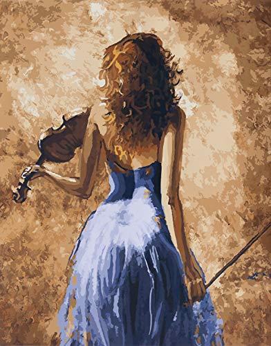 YXQSED [Rahmenlos] DIY Pintura por Números Pint por Número de Kits for Adultos Mayores Avanzada Niños Joven-Mujer Que Toca un violínr 16x20 Inch