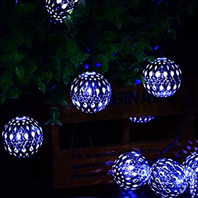 Silver Moroccan Orb String Light,KINGCOO Waterproof 20LED Goble Lantern Solar Dazzling Moroccan Fairy Light with 8 Mode Ambiance Lighting for Outdoor Garden Yard Party Christmas Decorations (Blue)