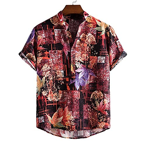 Playa Shirt Hombre Verano Asimétrico Dobladillo Hombre T-Shirt Vintage Estampado Ajuste Regular Botón Placket Hombre Manga Corta Moda Acampar Hawaii Camisa E-05 L