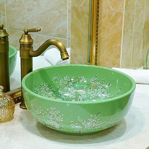 LG Snow Rundes Kunstwaschbecken/Waschbecken/Schrankwaschbecken/Waschbecken Keramisches Badezimmerwaschbecken (Color : Green)