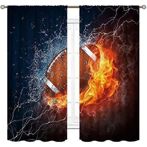 Cinblue - Cortinas de fútbol con bolsillo para barra de fuego y bola de agua, diseño de llama, trueno, rayo y frío, para niños, impresión artística, para sala de estar, recámara, ventana, 2 paneles de 42 x 63 pulgadas