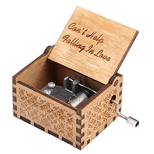 Chidjon Retro Holz Spieluhr Hand klassischen Handkurbel Musik Box für Geschenke Musik-Box Hand-hölzerne Spieluhr kreative Holz Handwerk beste Geschenke(Can'T Help Falling In Love)