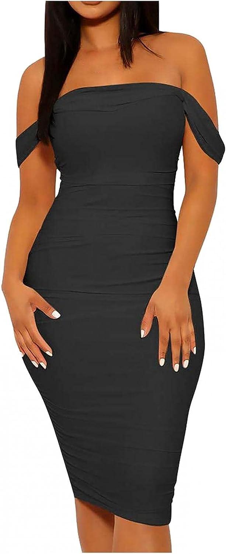 Gerichy Summer Dress for Women 2021, Womens Casual Off Shoulder Wrap Dress Bodycon Dress Long Maxi Sexy Workout Dress