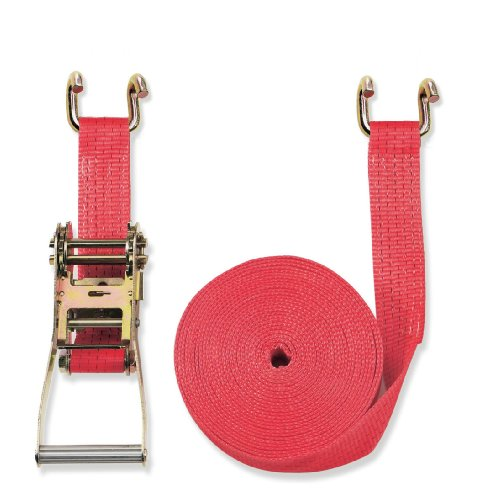 Braun Sangle d'arrimage 2 pièces à cliquet et crochets bord de rive 5000 daN Rouge 8 m x 50 mm