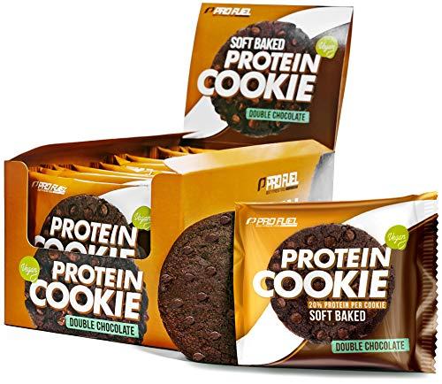Protein Cookie Double Chocolate (12x75g) - Unglaublich lecker - 20% Eiweiß pro Cookie – Vegane soft-baked Proteinkekse – Ballaststoffreich - 60% weniger Fett als normale Schokokekse