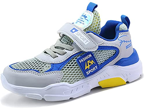 Gaatpot Unisex Kinder Sneakers Turnschuhe Jungen Mädchen Leicht Klettverschluss Sportschuhe Sommer Atmungsaktiv Mesh Laufschuhe Freizeit Schuhe Grau Blau 32 EU = 33 CN