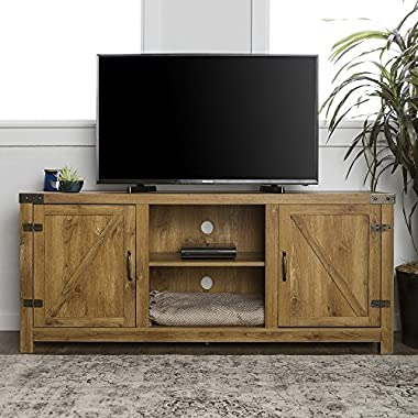 New 58 Inch Door Television Stand with Side Doors (Barnwood)