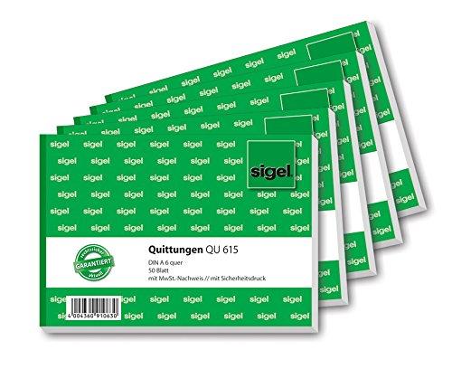 SIGEL QU615 Quittungsblock, fälschungssicher, A6 quer, 5 Stück á 50 Blatt