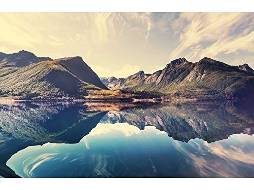 Oedim Fototapete Wand Norwegen Berge| Verschiedene Maße 200 x 150 cm | Dekor Esszimmer, Wohnzimmer, Zimmer