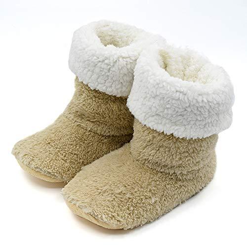 ルームシューズ スリッパ 北欧 冬 暖かい ルームブーツ もこもこ 足冷え対策 あったか ボアスリッパ 冬専用 可愛い 靴 滑り止め 静音 2way 洗濯可 メンズ レディース (ベージュ, M/22.5~24cm)