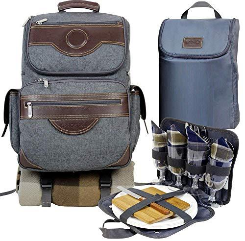 INNO STAEG Premium Deluxe 4 Person Picknick Rugzak voor tweeërlei gebruik met koelvak, fles/wijnhouder, fleecedeken, borden en bestekset